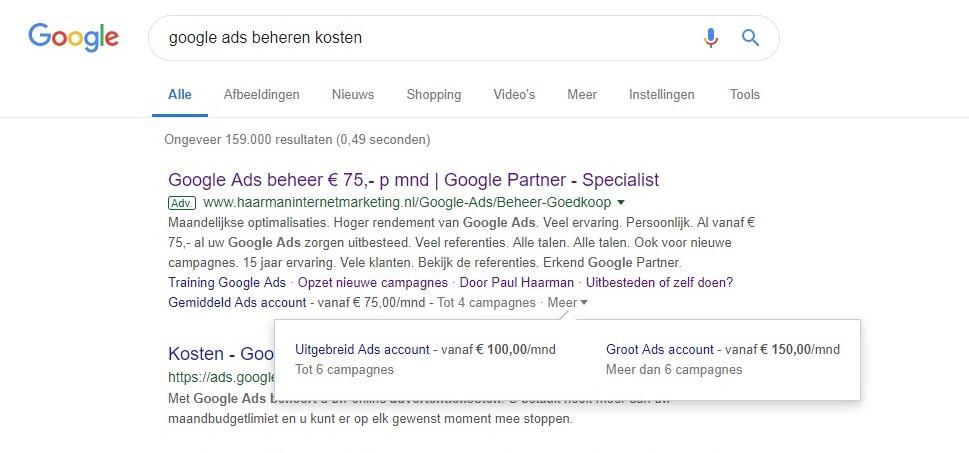 Voorbeeld prijsextensie Google Ads